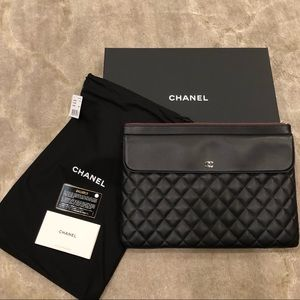 NEW Authentic CHANEL Large Clutch in Black